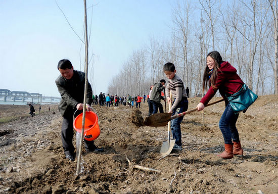 图为小朋友与家长一起参与植树活动